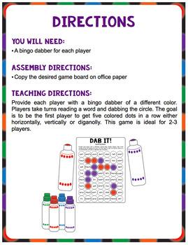 Dab It! Phonics Game Boards