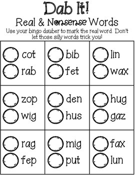 Dab It! Real & Nonsense Words CVC Edition