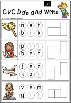 Dab It, Write It, Spell It - Sound It Out Sheets Activities - Colored Version