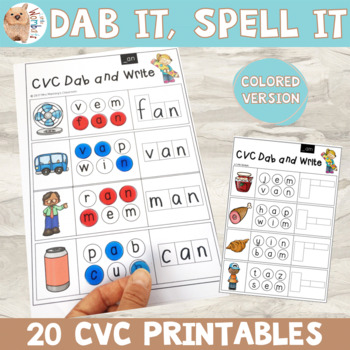 Dab It, Write It, Spell It - CVC Words / Phonics - Colored Version