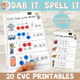 Dab It, Write It, Spell It - CVC Words / Phonics - Colored