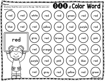Dab a Color Word