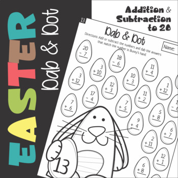 Dab and Dot Easter Subtraction and Addition to 20 Worksheets