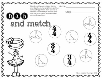 Music Dabbing Worksheets {3rd Grade}