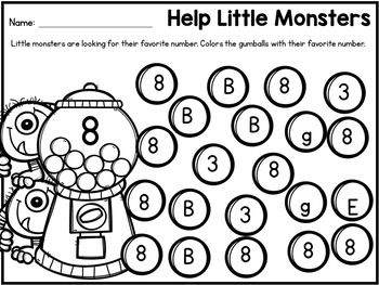 Number Recognition 1-10 Worksheets: Number Search Find and Dab