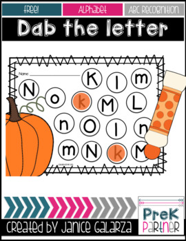 Dab the matching letter - Pumpkin Edition