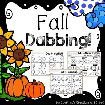 Dabbing Fall Kindergarten {Math and Literacy}