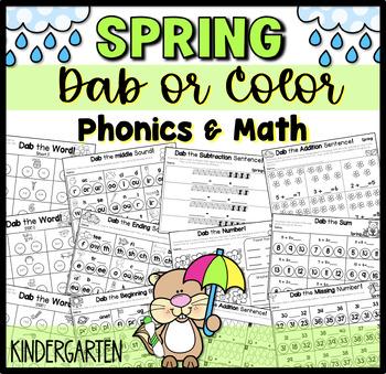 Dabbing Spring- Math and Literacy Kindergarten