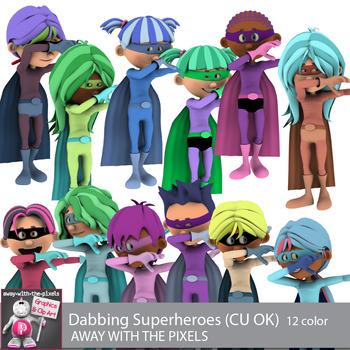 Dabbing Superhero Clip Art - 12 Color Images