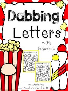 Dabbing the Alphabet with Popcorn- Kindergarten or Pre-School