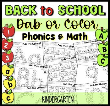 Dabbing the Beginning of School- Kindergarten- Math and Literacy Activities