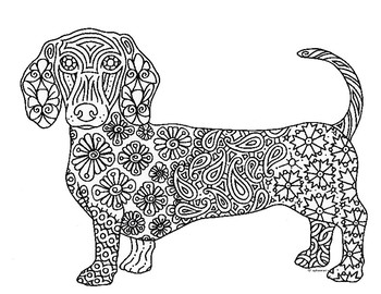 Dachshund Dog Zentangle Coloring Page By Pamela Kennedy Tpt