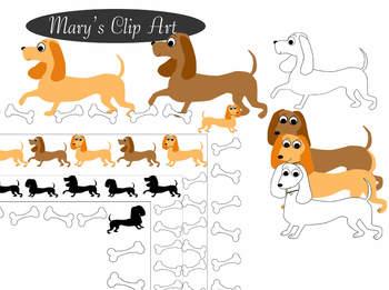 Dachshund Dogs Clipart & Borders