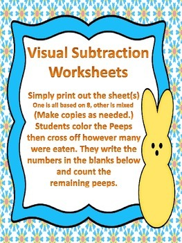 Dad Ate the PEEPS! - Visual Subtraction Worksheet - No Prep (Easter/Spring)