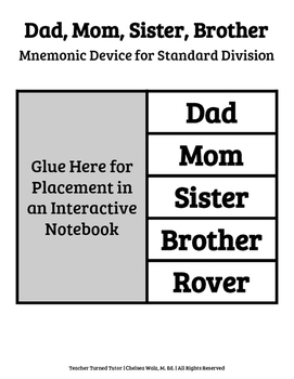 Dad, Mom, Sister, Brother: Mnemonic Device for Division {Interactive Notebook}