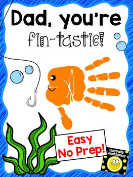 Dad, You're Fin-tastic! handprint craft-easy, no prep