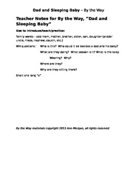 Dad and Sleeping Baby - By the Way  ESOL prompt, sub plans