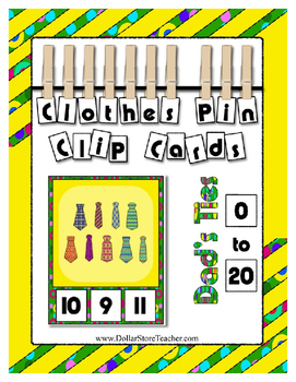 Dad's Ties Father's Day Tie Counting to 20 Clip Cards for Preschool & Kinder
