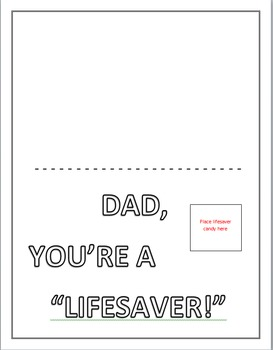 """""""Dad, you're a lifesaver!"""" Father's Day Card with Lifesaver candies"""