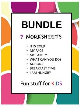 ESL K1 and K2 Worksheets BUNDLE x7