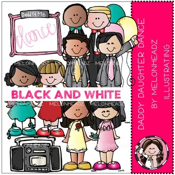 Daddy Daughter Dance clip art - BLACK AND WHITE- by Melonheadz