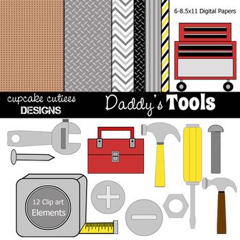 Daddy's Tool Hardware Set  Digital Clip Art Elements