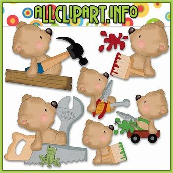 Daddy's Little Helper Bears Clip Art - Cheryl Seslar Clip Art