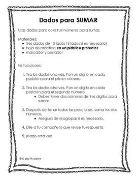 Dados Para Sumar (Addition Practice in Spanish)