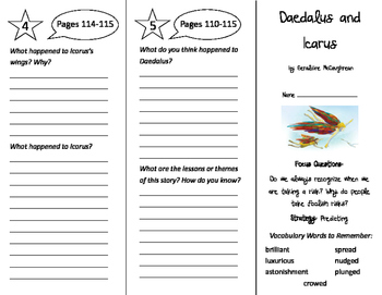 Daedalus and Icarus Trifold - Imagine It 4th Grade Unit 1 Week 5