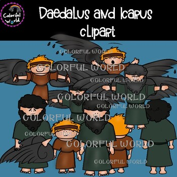 Daedalus and Icarus clipart and scenes