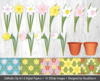 Daffodil Clip Art & Digital Paper Bundle, Spring Flower Illustrations & Patterns