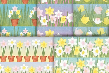 Flower Digital Paper, 10 Printable Spring Daffodil Patterns - Garden Flowers