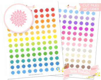 Dahlia Flower Printable Planner Stickers