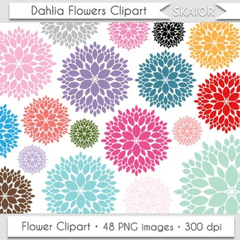 Dahlia Flowers Clipart Rainbow Colors Floral Bouquet Clip Art Scrapbooking