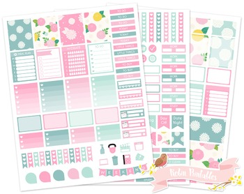 Dahlia Flowers Printable Weekly Planner Stickers Fits Erin Condren