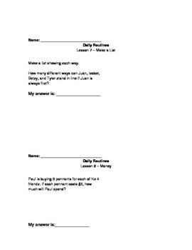 Dailty Routines  Volume 1 Unit 1 Math Expressions