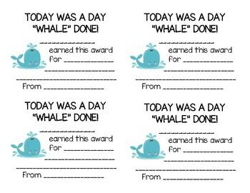 Daily 2nd Grade Awards (ocean-themed)