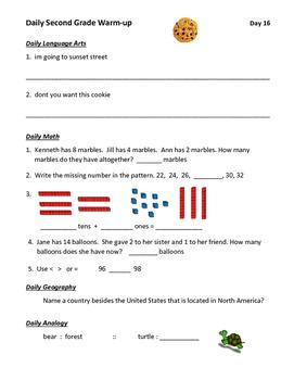 2nd Grade Daily Warm-up (Lang Arts, Math, Geography, Analo