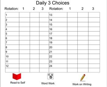 Daily 3 Choice Board