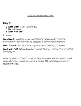 Daily 3 During Guided Math tip sheet