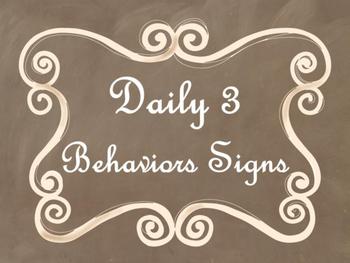 Daily 3 MATH Behaviors Anchor Charts/Posters (Brown Chalkb