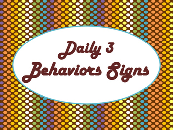 Daily 3 MATH Behaviors Anchor Charts/Posters (Chocolate Rave Theme)