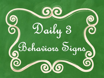 Daily 3 MATH Behaviors Anchor Charts/Posters (Green Chalkb