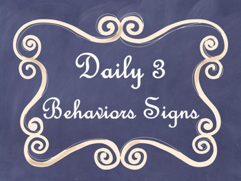 Daily 3 MATH Behaviors Anchor Charts/Posters (Navy Chalkbo