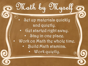 Daily 3 MATH Behaviors Anchor Charts/Posters (Ombre Chalkboard/Curly Frame)