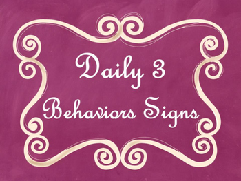 Daily 3 MATH Behaviors Anchor Charts/Posters (Pink Chalkboard/Curly Frame)