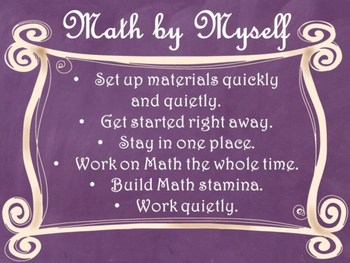 Daily 3 MATH Behaviors Anchor Charts/Posters (Purple Chalkboard/Curly Frame)