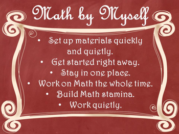Daily 3 MATH Behaviors Anchor Charts/Posters (Red Chalkboard/Curly Frame)