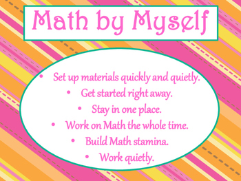 Daily 3 MATH Behaviors Anchor Charts/Posters (Tangerine Hot Pink Theme)