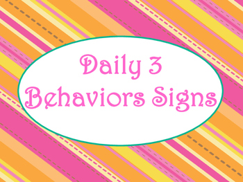 Daily 3 MATH Behaviors Anchor Charts/Posters (Tangerine Ho